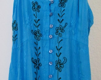 Turquoise Blue Hippie Embroidered Long Dress Size M/L