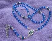 Flex Wire Blue And Clear Glass Beaded 7 Joys Of Mary Rosary
