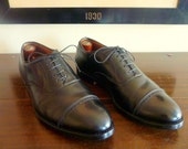 ESSENTIAL Vintage Alden Perforated Straight Tip Black Calfskin Balmorals Oxfords 10 A / C. Made in USA.