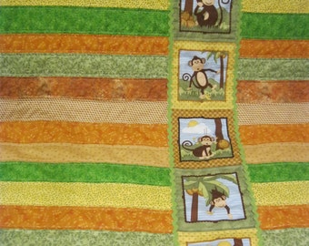 MONKEY QUILT - Toddler Quilt - Strip Quilt - Baby Quilt