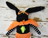 Superhero Bunny Unique Sock Animal, Hand-stitched, Made with all Reclaimed Clothing, Quirky Plush Toy, Sustainable Gift, Rag Doll, OOAK
