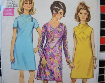 vintage 1960s Simplicity sewing pattern 7720 misses A line dress with front seam interest size 10
