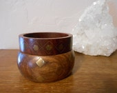 two wood and brass bangle bracelets