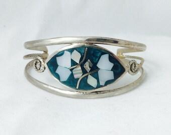 Mexico Silver tone Inlaid Bracelet
