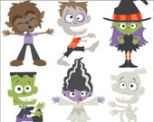 Halloween Clip Art Monsters -Personal and Limited Commercial Use- Witch, Mummy, Zombie, Frankenstein, Werewolf Clipart