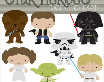 Star Heroes Clipart Set -Personal and Limited Commercial- Trooper, Princess, Wars Clip Art