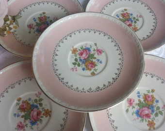 Set of 5 Homer Laughlin Marilyn Pink Saucers Very Scarce