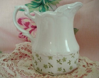 Vintage Shabby Creamer Milk Pitcher J G Meakin England Sterling Cottage Chic Whiteware Green Floral