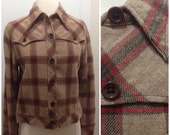 "1960s Vintage Rockabilly Western Plaid Jacket / Medium / 38"" Bust / Medium"