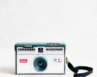 Photograph of a camera, Kodak Hawkeye Instamatic photo, wall art, home decor, square photo, turquoise, white, black, mid century, kids room