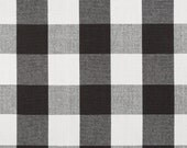 Black White Cotton Plaid Upholstery Fabric - Large Scale Plaid Curtain Material - Black White Plaid Roman Shade and Pillow Cover Fabric