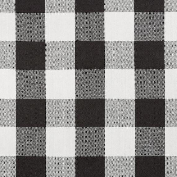 Black White Cotton Plaid Upholstery Fabric Large Scale Plaid