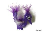 Felt brooch-brooch felt-felt pin-felt bird brooch-bird brooch-animals brooch-felt jewelry-felt accessories-purple bird brooch