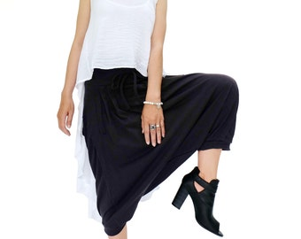 NO.184 Black Cotton Jersey Pleated Front Casual Harem Pants, Capri Drop Crotch Trousers, Unisex Harem Shorts