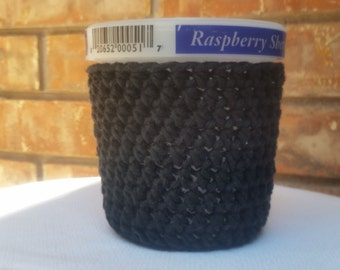 Ice Cream Cozy Pint Cover - Black Cotton Cup Cozy - Ready To Ship!