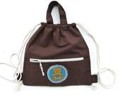 kids backpack cotton brown sack cinch sack