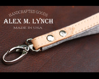 Merino wool felt and natural leather wristlet keychain