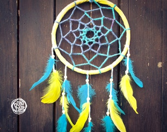 Dream Catcher - Eternal Sunshine - With Transitional Web and Turquoise-Yellow Feathers - Mobile, Home Decor, Decoration