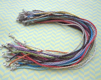 42pcs 3mm 20-22 inch adjustable assorted color(21colors) faux braided leather necklace cord