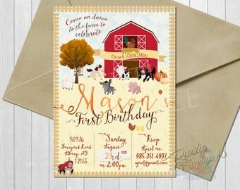 Fall Barnyard Birthday Invitation- Farm Animals-Pig, Cow -Custom Printable-5x7 or 4x6 Inches-Farm Invites-Gender Neutral