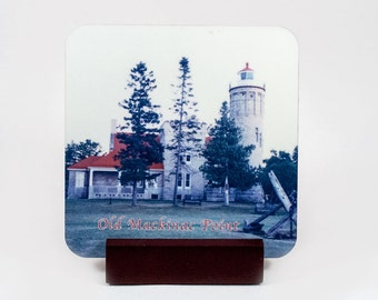 Coaster, Old Mackinac Point Lighthouse Design, Glossy, Hardboard, Michigan, Nautical