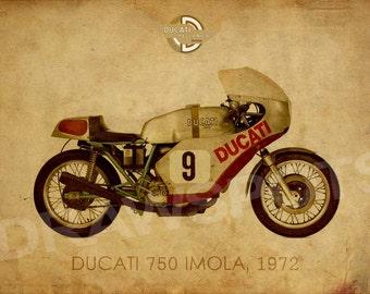 DUCATI 750 IMOLA 1972, Art Print 14x10 in and more. trending home decor, trend art print