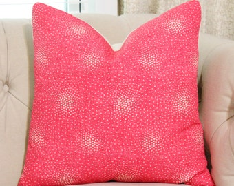 Liberty of London Pillow - Riley Linen Union in Flamingo - Pink Coral Designer Pillow - Pink and Off White Dot Pillow - Bright Pink Pillow