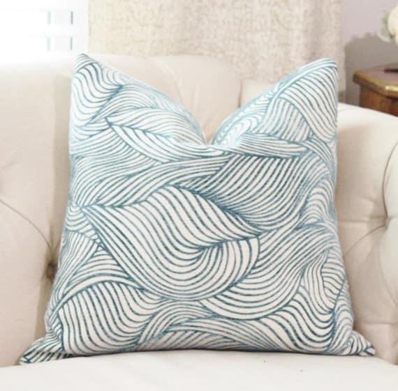 Decorative Designer Blue Chenille Pillow Cover Geometric