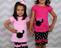 Minnie Mouse Disney World Hot Pink Light Pink Appliqued Embroidered Polka Rot Boutique Capris Oufit