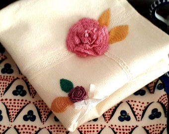 Cotton velvet towel/rosy towel/towel/bathroom/hand towel/handmadetowel/flowery towel/white and pink/Turkish towel/daisysultantowel/unique