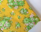Vintage bright floral fabric, calico fabric by the yard, vintage roses fabric