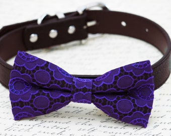 Purple dog Bow tie collar, Floral Prints, Pet wedding, dog lovers