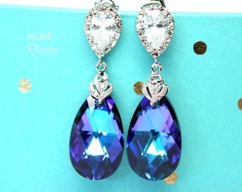 Purple Earrings Swarovski Crystal Heliotrope Bridesmaid Gift Royal Blue Dark Blue Sterling Silver Cubic Zirconia Hypoallergenic HE32P
