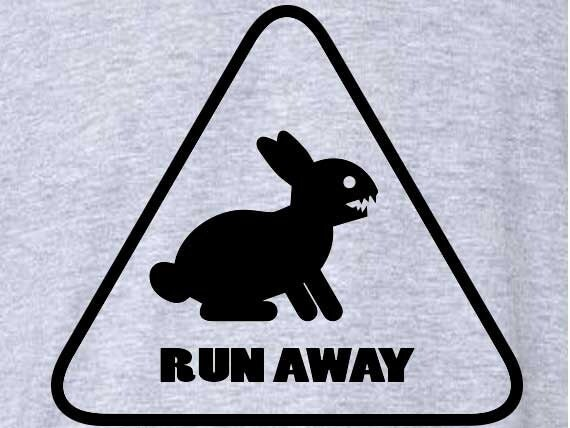 FUNNY T-SHIRT Run Away T-Shirt Brittish Humor Rabbit Easter