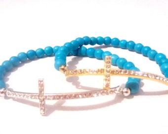 Blue Cross Bracelet.Sideways Cross Bracelet. Cross Bracelet. Beaded Cross. Cross Jewelry. Silver Cross.