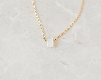 Emerald Cut Moonstone Necklace (Vertical Gemstone, Semi-precious, Minimal, Layering, Tiny, Petite)