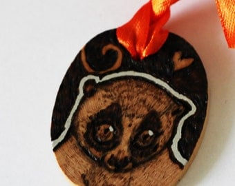 Slow Loris Gift Tag Mini Wall Hanging - Pyrography Woodburning