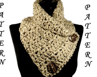 Crochet Scarf Pattern, Button Scarf, Crochet Chunky Cowl Pattern Bulky Crochet Cowl Crochet Neck Warmer Chunky Scarf Bulky Neckwarmer, #108