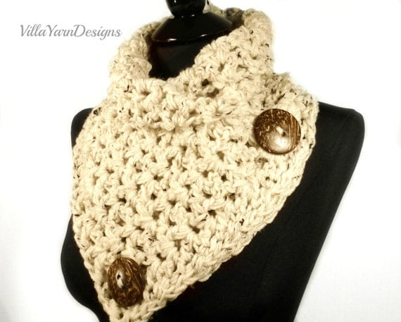 Crochet Pattern For Infinity Scarf With Buttons : Crochet Scarf Pattern, Crochet Cowl Pattern, Infinity ...