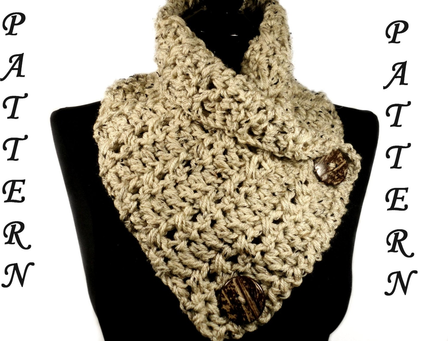 Free Crochet Infinity Scarf Patterns With Buttons : Crochet Scarf Pattern Button Scarf Crochet Chunky Cowl