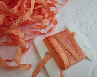 Hand Dyed Silk Ribbon - Embroidery - 4mm - Needlecraft - Apricot