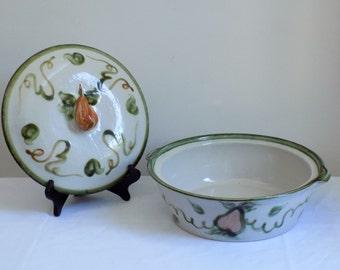John B Taylor  - Louisville Kentucky - Vintage Ceramic Casserole Dish - Harvest Pear Pattern - American Pottery Mid Century Serving Bowl Lid