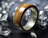 Oak wood ring silver half dollar coin with whisky barrel Oak wood