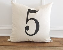 Typography Number Pillow Cover