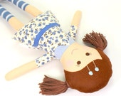 Handmade Rag Doll -- Eco-Friendly Fabric Doll -- Camille Doll with Brown Yarn Pigtails & Blue Floral Dress with Collar and Ribbon Decoration