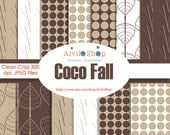 New Store!!! Coco FALL Brown Leaves Digital Paper Autumn Hot Chocolate Cream Twigs Leaf Sticks coffee early Winter