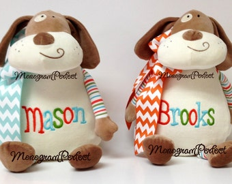 Personalized, Monogrammed Stuffed Striped Puppy Dog