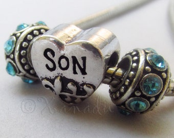 Son European Heart Charm Pendant And Birthstone Beads For Large Hole Charm Bracelets - Gift Idea For Moms