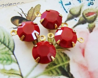 Vintage Opaque Cherry Red Swarovski Rhinestone 11mm Round Drops or Connectors Brass Prong Settings - 4