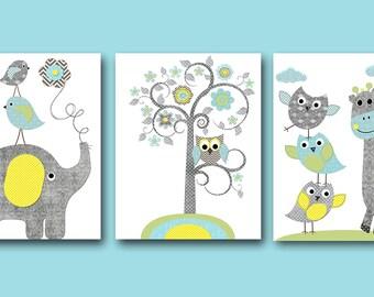 Nursery Art Print Nursery Print Elephant Wall Art Giraffe Wall Art Gray Blue Green Nursery Decor Kids Room Decor Playroom Art set of 3